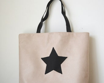 Taupe, Black Star canvas tote bag