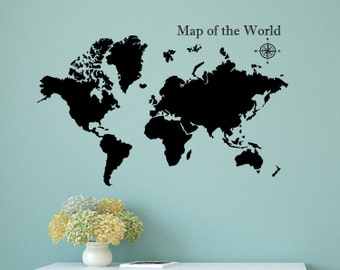 Map of the world removable decal