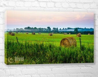 Rural Canvas, Manitoulin sunrise art print, farmland wall art, hay bails, 3 canvas panels, triptych art, green field, 12x20 inch canvas