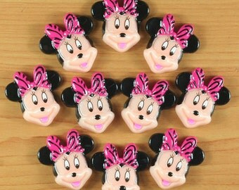 10pcs Minnie Mouse W/ Hot Pink Zebra Bow Resin Cabochons Flatbacks Flat Back Girl Hair Bow Center Crafts Embellishments DIY