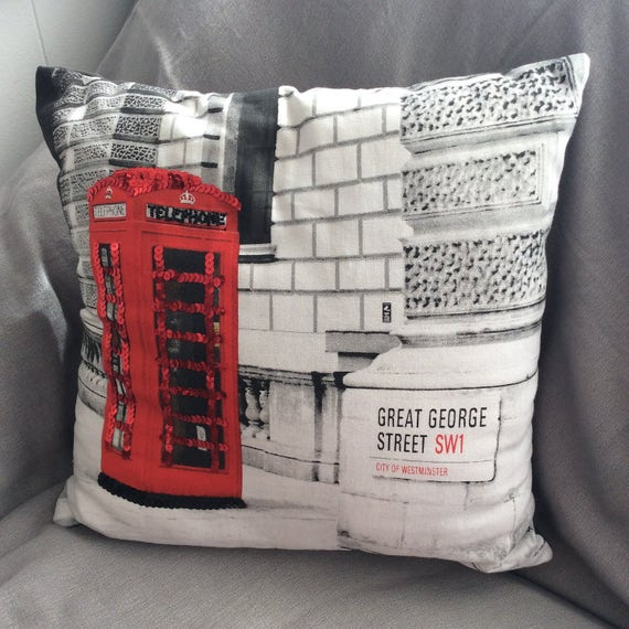 Hand Embellished Telephone Box Pillow