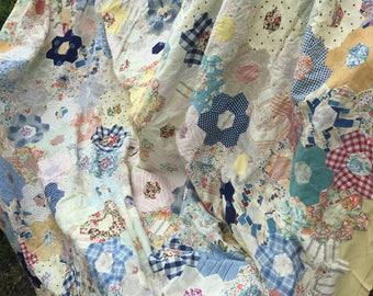 Patchwork bedspread, patchwork octagons, vintage patchwork bedspread