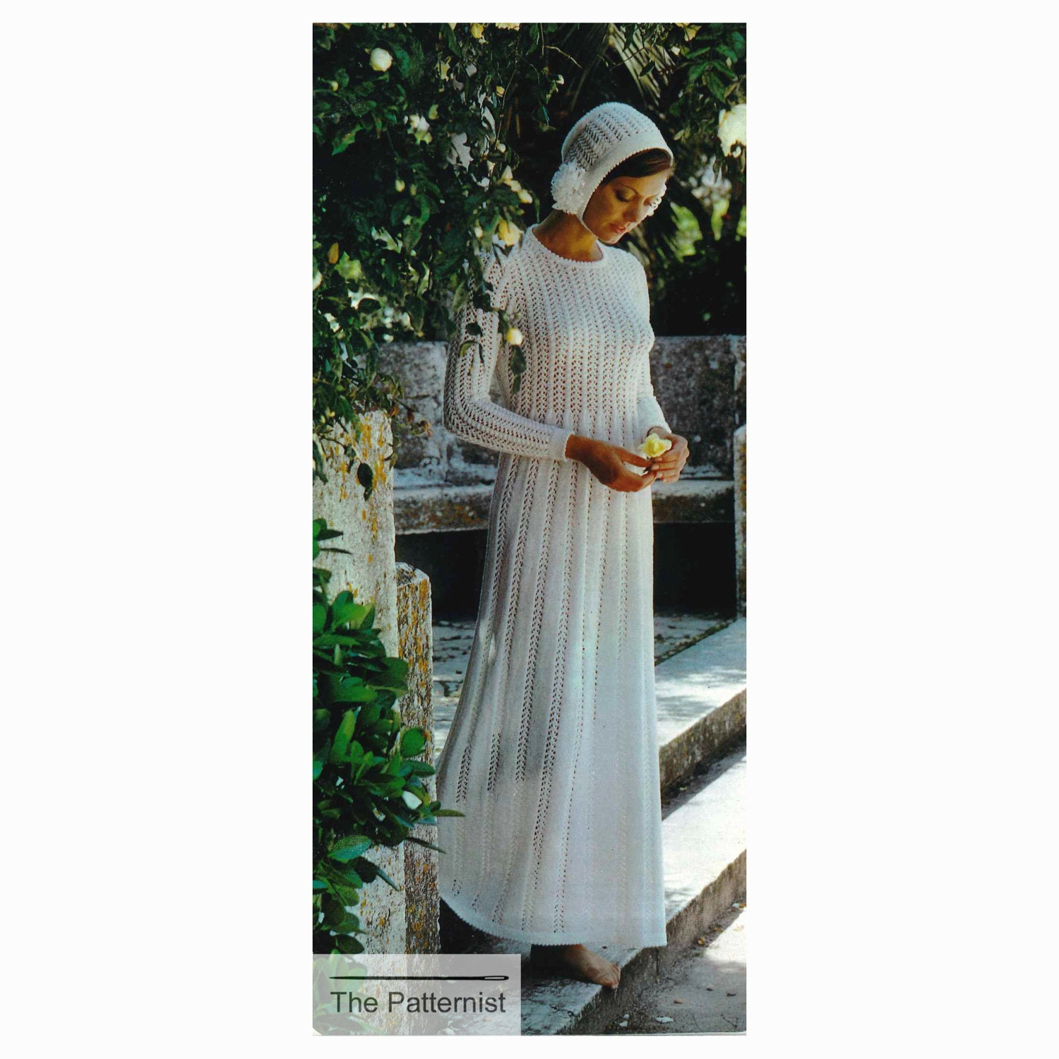 Wedding Dress Knitting Pattern Maxi Dress with Bonnet Hat