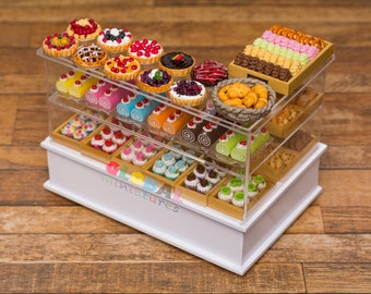 Dollhouse Miniatures Assortments of Bakery and Pastry on L Counter