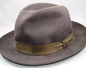 The Fedora by The New York Hat Company Grey Felt with Grey Ribbon Size Medium         01217
