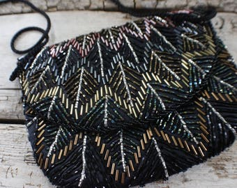 vintage wedding purse / clutch, black, gold, copper, beaded clutch, beaded formal bag, gift for her, vintage beaded evening bag, gold chain