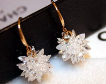 S925 Sterling Silver Crystal Ice Flower Earrings  Long sweet wild snowflake earrings