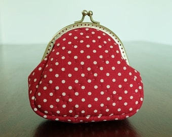 Red Polka Dot Quilted Frame Purse Small Coin Bag Kiss Lock Pouch Change Wallet Cotton Fabric Soft Touch Trinket Padded Ready to Ship byCNX2U