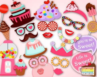 Digital Sweet Shoppe Photo Booth Props, Printable Candy Party PhotoBooth Props, Instant Download Sweet Party Photo Booth Props 0034