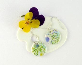Porcelain Earrings,Dangle earrings,Green Decor,Nature Theme,Porcelain Jewelry,Ceramic Jewelry,Boucles d'oreille en Porcelaine,