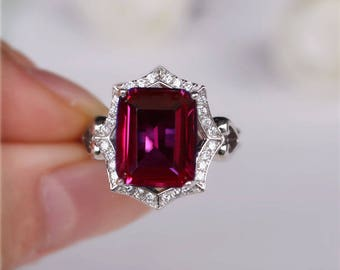 Lab Ruby Ring Ruby Engagement Ring/ Wedding Ring 925 Sterling Silver Ring Anniversary Ring
