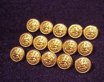 Lot of 15 Vintage US Navy Uniform Gold Tone Uniform Buttons with loop shanks, Cufflink Making, Vintage Sewing, Military, Old
