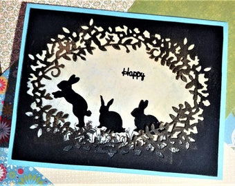 Happy Rabbits in Silhouette Card