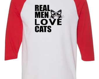 Real Men Love Cats Funny Saying Mens 3/4 Raglan Sleeve T-Shirt