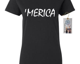 4th of July 'Merica Womens Short Sleeve Tee T Shirt Top