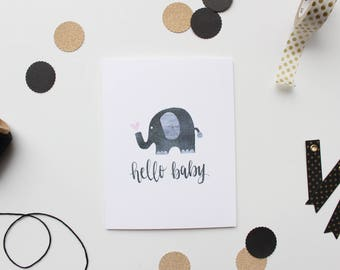"""Hand Lettered """"Hello Baby"""" Greeting Card"""