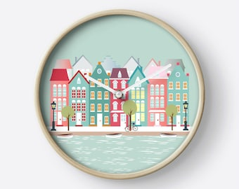 Amsterdam wall clock,houses clock,wall clock wood,wall clock modern,wall clock houses, modern clocks, clocks decor, houses illustration