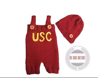 USC baby outfit | USC baby clothes | USC onesie | knitted usc baby | usc photo outfit | usc coming home outfit | knitted baby romper |