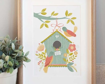 Home Tweet Home Print designed by Claire Wilson, printed in the UK - A4 size