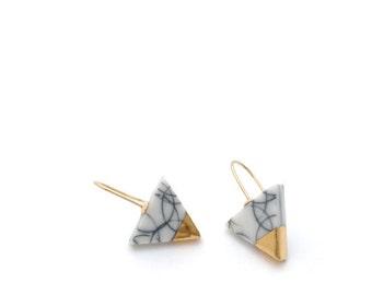 Gold Marble earrings, Porcelain earrings, White minimalist earring, geometric triangle earrings, Minimalist jewelry, gold dipped earrings