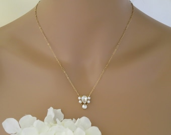 Simple gold wedding necklace, Swarovski crystal and pearl bridal necklace, Petite Art Deco necklace, Bridesmaid necklace