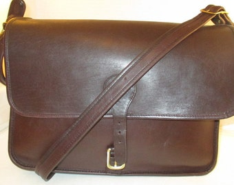 "COACH Vintage Burgundy ""Letter Brief"" Bag Briefcase/School Bag/Messenger Bag - Refurbished - EVC"