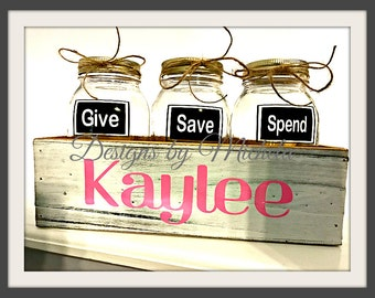 Give Save Spend Savings Jars With Monogrammed Wooden Box