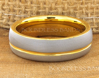 Custom Order Satin Finished  Dome Two Tone  Silver Exterior and Yellow Gold Plated Interior Tungsten Wedding Ring Size 11