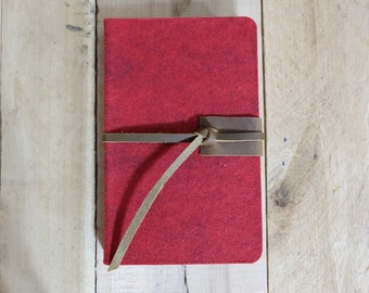Wool and Leather Medium Sketchbook - Red