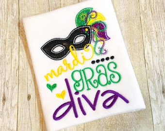 Glitter Girls Mardi Gras Diva Bib, Bodysuit or Shirt - Mardi Gras Shirt - Mardi Gras Baby - Mardi Gras Mask - 1st Mardi Gras - Mardi Gras