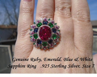 Genuine Ruby, Emerald, Blue & White Sapphire Ring Size 7