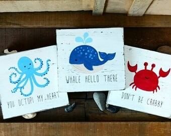 Nautical bathroom wall decor, set of 3, whale, octopus, crab. under the sea creatures, bathroom decor, Hand painted, rustic, wood plaque