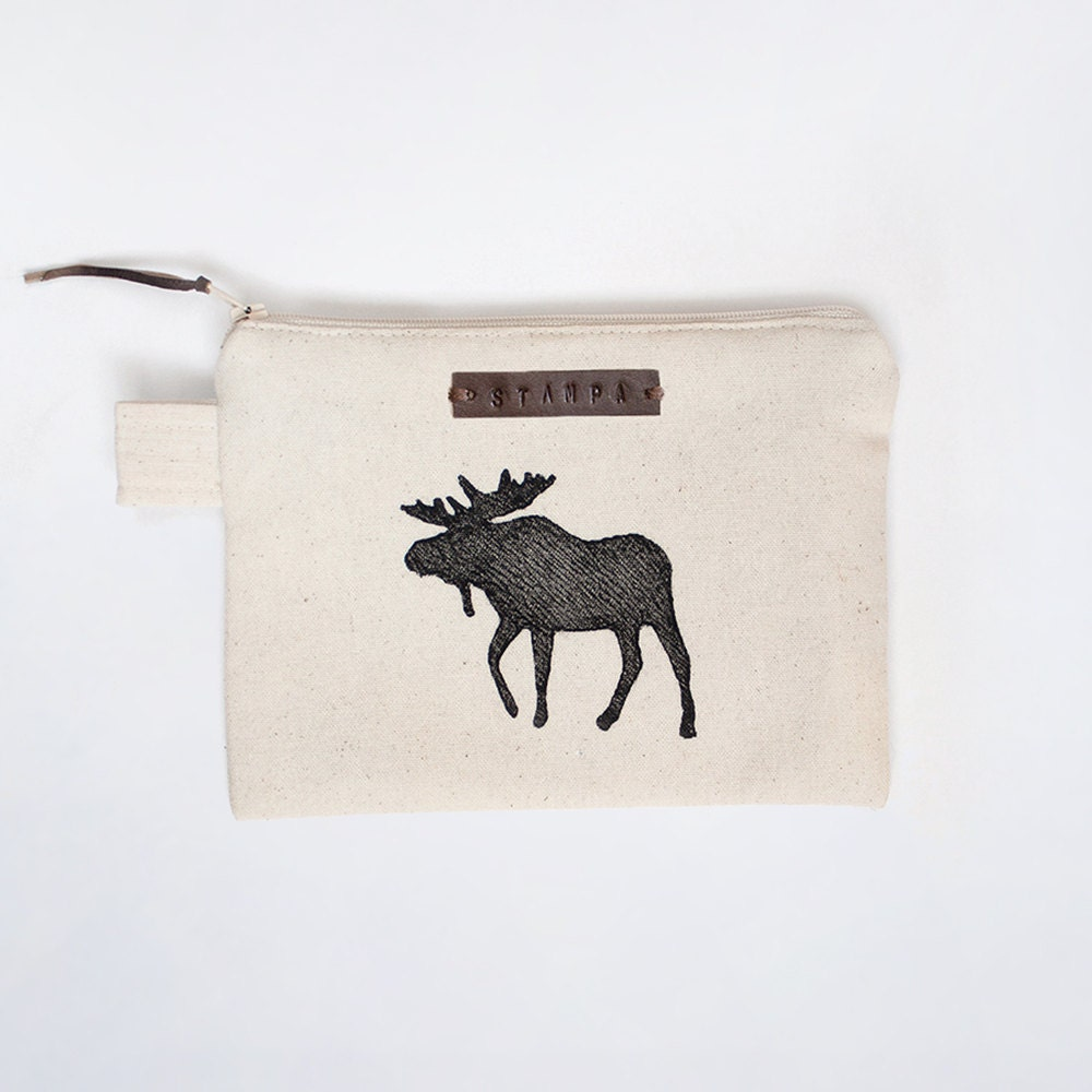 moose zipper jewelry pouch pencil case purse cosmetic bag