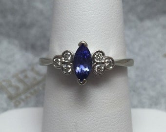 Vintage 14k Marquise Tanzanite & 6 Bezel Set Diamond Ring, .53 tw IJ-SI1, size 7+