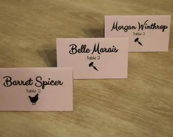 Wedding Place Card with Meal Icons, Food Icon, Seating Card, Menu Icons, Tented Place Card - 3 x 4""