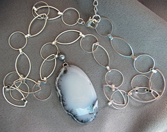 Dendritic Opal Pendant Necklace/Gift/White and Black