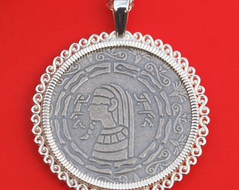 Monarch Precious Metals Egyptian Pharaoh 1/2 oz .999 Fine Silver Round Coin 925 Sterling Silver Necklace NEW