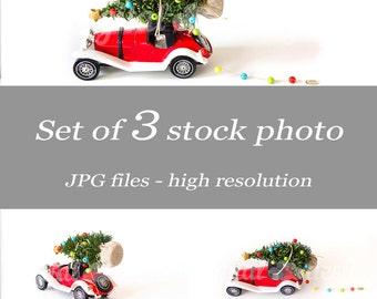Set Red Vintage Car Christmas Tree Lights Ornament Mockup Styled Stock Photography Noel Mock Bundle Design Tree Winter Image