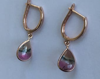 14k solid rose gold and natural watermelon tourmaline earrings , dangle earrings , drop earrings, bicolored tourmaline , one of a kind