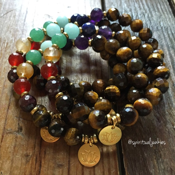 Stackable Mala Inspired Faceted Tigers Eye + Chakra Stones Spiritual Junkies Yoga and Meditation Bracelet with Hill Tribe Gold Vermeil Lotus