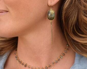 Labradorite earrings, labradorite jewelry, gold gemstone earrings, gold drop earrings, gold dangle earrings, statement earrings