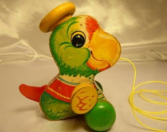 Fisher Price Talky Parrot #698 Wood Pull Toy-1963 Vintage Wooden Parrot-One Year Only Rare Toy- Makes Sounds When Pulled!
