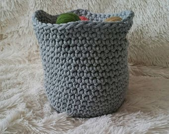 Small Crochet Cotton Basket - Grey