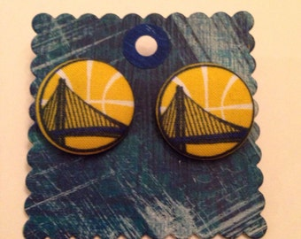 Golden State Warriors Earrings, covered button earrings, basketball