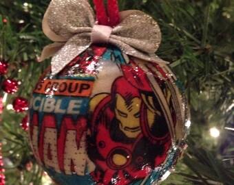 Iron Man Decoupage Comic Fabric Christmas Ornament, Marvel, Super Hero Ornament