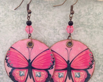 Pink Butterfly Print Up-cycled Cardboard Box Earrings