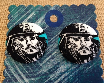 Jack Sparrow, Pirates of the Caribbean covered button earrings
