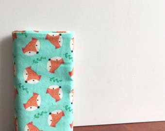 Cotton flannelette baby wrap, swaddle or blanket. Large size. Foxy