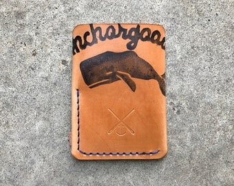Trifold leather wallet polished with logo