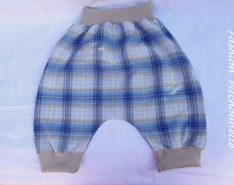Harem pants blue boy, in cotton, Plaid, scalable 6-36 months